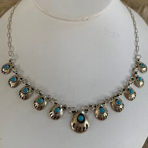 Sterling 925 and Turquoise Bear Paw Necklace